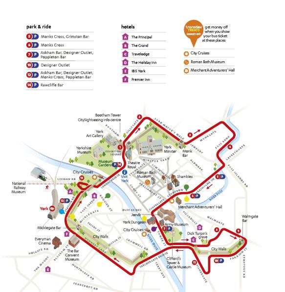CitySightseeing York Route Map